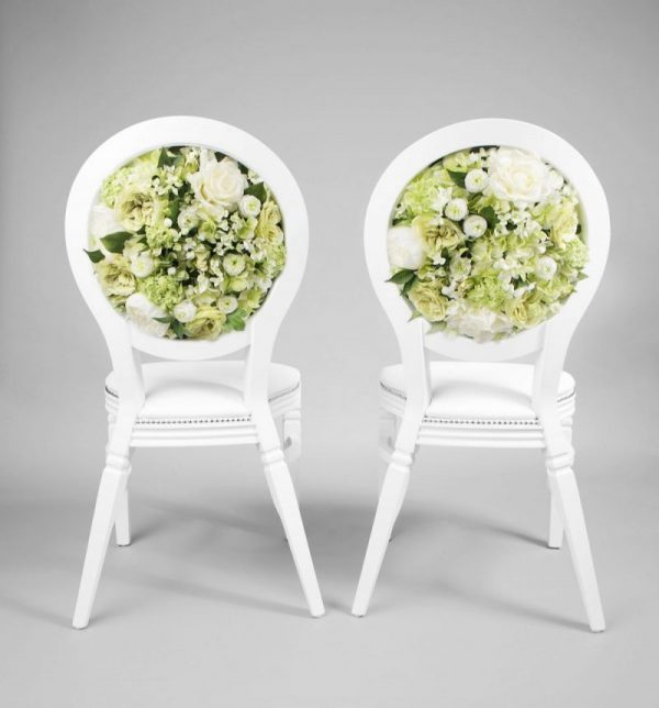 White Flower Back Chairs
